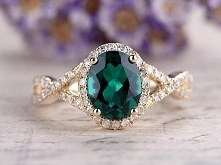 Oval Emerald engagement ring,14k yellow gold lab-emerald wedding ring,promise...