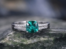 2pc Emerald wedding Ring set-Green emerald engagement ring Set-14k white gold...