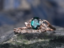 Emerald engagement ring SET-Solid 14k Rose gold-handmade Diamond ring-2pcs fl...