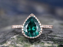 Emerald wedding Ring-7x9mm pear cut emerald engagement ring Set-14k rose gold...
