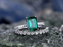 Green Emerald engagement ring 14k white gold-handmade Diamond ring-Full Etern...