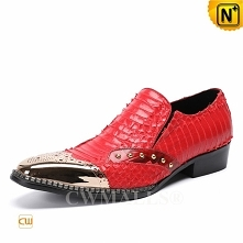 CWMALLS® Austin Red Embossed Leather Loafers CW708101[Global Free Shipping]