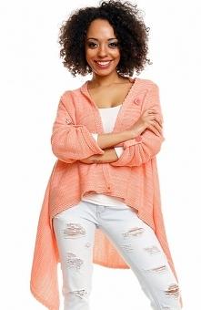 PeekaBoo 30041 sweter morelowy Rewelacyjna narzutka damska, wykonana z melanżowej dzianiny, asymetryczny fason, narzutka zapinana na guzik na ramieniu na w środku