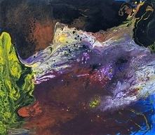"""Obraz """"Obce krajobrazy"""" namalowany przez artystkę plastyka Adrianę Laube na płótnie 100x90cm. Obraz wykonany farbami akrylowymi techniką pouring (wylewany). Obraz naci..."""