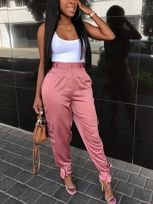 Casual Tied Ankle Satin Sweatpants Rozmiar: S, M, L, XL Kolor: pink