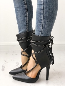 Point Toe Chains Lace-up Thin High Heels Rozmiar: US4, US4.5, US5.5, US6, US7...