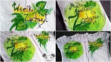"""Ręcznie malowane koszulki - """"Wielki Zachwyt"""" -  dla bloga i """"Matka Wielkiego Zachwytu"""" Farby do tkanin jasnych. FB: Magdalena Wróblewska PROJEKTant"""