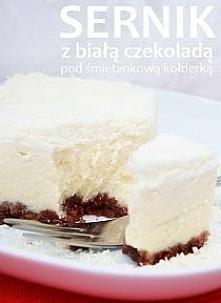 Sernik z białą czekoladą Ciasto na spód: 200 g ciasteczek LuGo czekoladowych 85 g masła Masa serowa: 750 g białego sera (jak zwykle używam Oetkera) 250 g sera mascarpone 3 łyżki...
