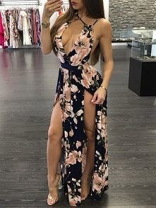 Deep V Floral Crisscross Back High Slit Maxi Dress Rozmiar: S, M, L, XL Kolor...