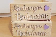 Skrzyneczka drewniana Kochanym Rodzicom, podziękowania dla Rodziców na Ślub f...