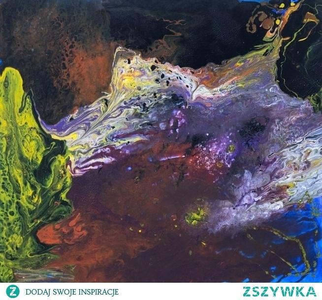 """Obraz """"Obce krajobrazy"""" namalowany przez artystkę plastyka Adrianę Laube na płótnie 100x90cm. Obraz wykonany farbami akrylowymi techniką pouring (wylewany). Obraz naciągnięty na blejtram, sygnowany."""