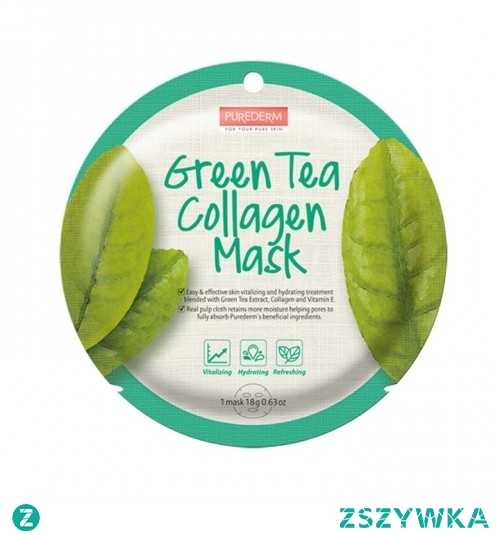 Maska Kolagenowa z zieloną herbatą. Maska na bazie naturalnego kolagenu morskiego z ekstraktem z zielonej herbaty o silnym działaniu, orzeźwiającym antyoksydacyjnym regenerującym skórę. Potężna dawka tych cennych składników pomaga utrzymać idealny poziom nawilżenia skóry, zapewniając stały dopływ wilgoci i odżywienia. Dodatkowo, naturalne włókna zawarte w tkaninie maski zachowują więcej wilgoci ułatwiając porom wchłanianie składników.