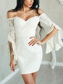 Sexy Ruffled Sleeve Off Shoulder Lace Dress Rozmiar: S, M, L Kolor: white
