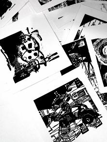 Cały stos linorytów :)  To tylko przykład wykonywanych przeze mnie grafik artystycznych. Więcej możecie zobaczyć na blogu Linorytem.pl. Zapraszam!
