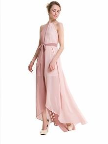 Zjawiskowa, dwukolorowa suknia o asymetrycznym fasonie. Spód jest mini, a wierzch sięga aż do ziemi. Idealna sukienka na wesele! Kliknij w zdjęcie i zobacz, gdzie ją kupić ;)