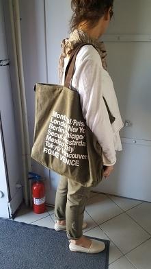 shopper z materiału khaki Fb/Atelier Torebek wysyłka 24h