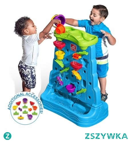 Wspaniały zestaw do zabawy w wodzie Waterfall Discovery Wall™ to ekskluzywny produkt marki Step2. Dwustronna Góra z wodospadem została wyposażona w 26 różnych akcesoriów zapewniając tym samym wspaniałą zabawę dla całej rodziny.