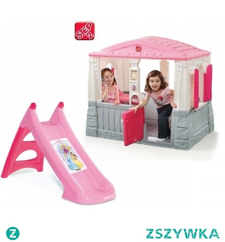 STEP2 Domek z Podłogą Różowy + Smoby Zjeżdżalnia XS Disney Princess powłoka Anty UV