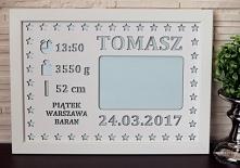 PERSONALIZOWANA METRYCZKA A4 Z MIEJSCEM NA ZDJĘCIE [7_2]  - Rozmiar metryczki: A4, - Pasuje do zdjęcia: 10x15 cm - Tabliczka wykonana ze sklejki brzozowej, pomalowanej białą far...