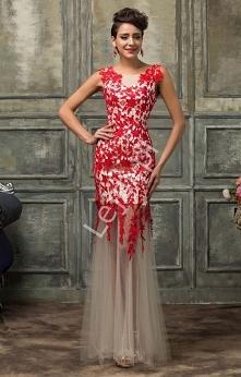 Suknia wieczorowa z czerwon...