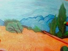 """,,Krajobraz z cyprysami"""" w moim wykonaniu"""