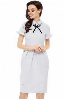 Leminiade L234 sukienka szary Elegancka sukienka, jest to doskonała propozycja wizytowa, kobiecy fason podkreśla figurę
