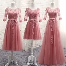 Piękne Cukierki Różowy Przezroczyste Sukienki Dla Druhen 2018 Princessa Wycięciem 1/2 Rękawy Aplikacje Z Koronki Kokarda Szarfa Wzburzyć Bez Pleców Sukienki Na Wesele