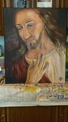 Deska, akryl, 60x50 - Jezusek
