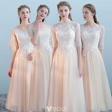 Eleganckie Szampan Sukienki Dla Druhen 2018 Princessa Aplikacje Z Koronki Długość Herbaty Wzburzyć Bez Pleców Sukienki Na Wesele