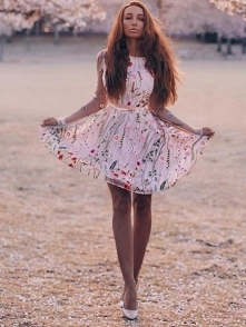Floral Embroidery Casual Mini Dress Rozmiar: S, M, L, XL Kolor: pink