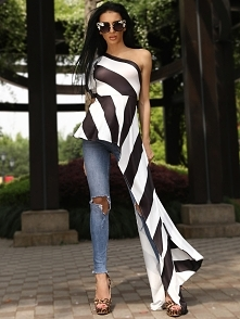 One Shoulder Contrast Striped Asymmetric Blouse Rozmiar: S, M, L, XL Kolor: b...