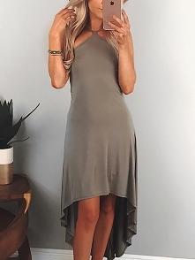 Sexy Halter Irregular Dip Hem Casual Dress Rozmiar: S, M, L, XL Kolor: khaki