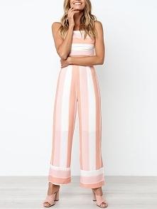Contrast Striped Tie Back Top & Wide Leg Pants Rozmiar: S, M, L, XL Kolor...