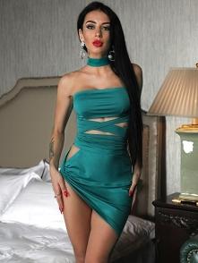 Cut Out Waist Bandage Twist Side Bodycon Dress Rozmiar: S, M, L, XL Kolor: green