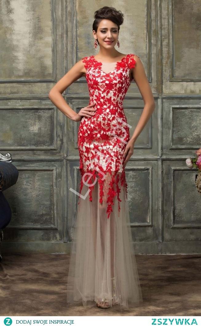 f91f6c56023 Suknia wieczorowa z czerwoną gipiurową koronką i beżowym tiulem.. na ...
