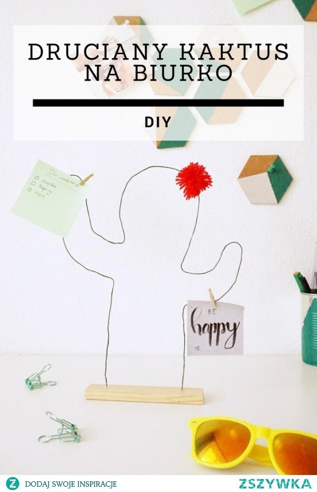DIY Druciany kaktus na biurko - ozdoba i organizer w jednym • origamifrog.pl
