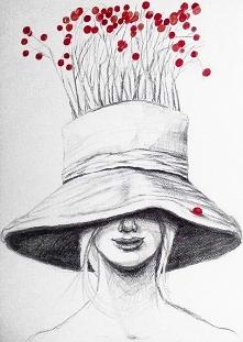 """Rysunek ołówkiem z dodatkiem akwareli """"Owocowanie"""" wykonany przez artystkę plastyka Adrianę Laube na 300g papierze A3. Praca sygnowana."""