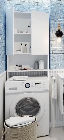 niezwykle praktyczne rozwiązanie do małej łazienki  - regał nad pralkę
