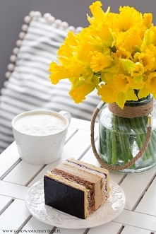 Ciasto Wielkanocne   Jeśli macie ochotę, do masy kawowej możecie dodać wiśnie...