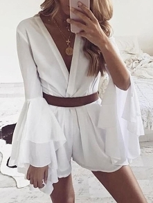 Flared Slit Sleeve Wrap Deep V Mini Dress Rozmiar: S, M, L, XL Kolor: white