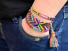 Szeroka, barwna bransoletka w stylu BOHO z koralików szklanych, wykonana ręcz...