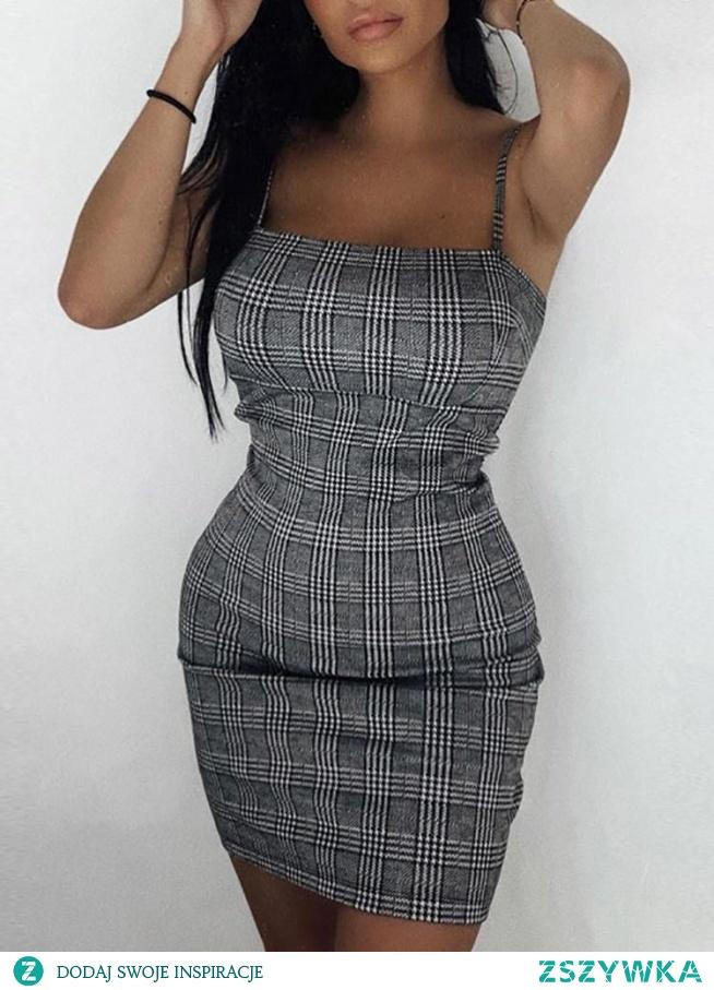 Grid Spaghetti Strap Bodycon Dress Rozmiar: S, M, L Kolor: black