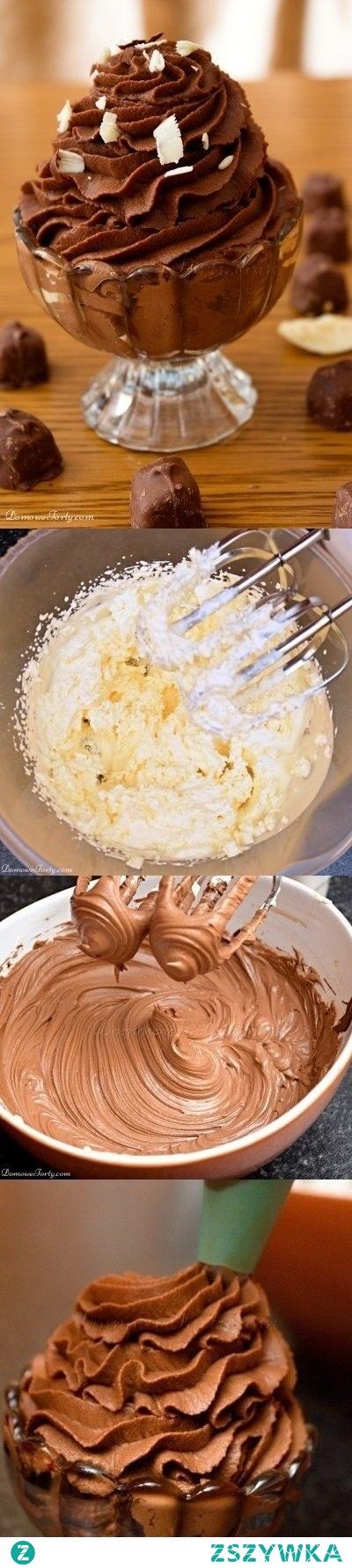 Czekoladowy krem na bazie śmietanki i mascarpone   SKŁADNIKI NA KREM CZEKOLADOWY (na 4 pucharki lub do przełożenia 1 tortu)  250ml. śmietany kremówki (dobrze schłodzonej) 250g.serka mascarpone 200 g. ciemnej czekolady 4 łyżki cukru pudru  Czekoladę rozpuszczamy w kąpieli wodnej-tzn.umieszczamy czekoladę w szklanej misce. Miskę stawiamy na garnku z gotującą się wodą-tak,aby dno miski nie dotykało wody.  Rozpuszczoną czekoladę odstawiamy do przestygnięcia (aż nie będzie gorąca,tylko delikatnie ciepła).  Śmietanę ubijamy. Serek mascarpone mieszamy mikserem z cukrem pudrem.  Nie przerywając pracy miksera – dodajemy do serka czekoladę (delikatnie wlewamy małym strumieniem). Miksujemy, do momentu uzyskania gładkiej masy.  Do masy czekoladowej dodajemy ubitą śmietanę. Następnie mieszamy – ręcznie lub mikserem na wolnych obrotach, do momentu, aż uzyskamy jednolitą, kremową, gęstą konsystencję.  Dla uzyskania ładnie prezentującego się deseru - nakładamy krem do pucharka za pomocą rękawa do zdobienia tortów.  Gotowy krem przechowujemy w lodówce.