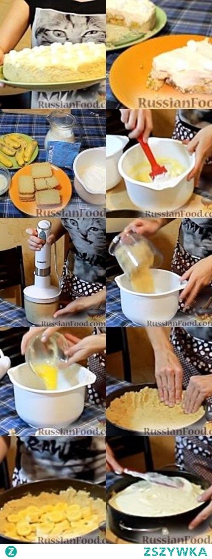 """Ciasto bananowe bez pieczenia """"Pierwsza randka"""" russianfood.com Ten bananowy tort ma tak romantyczną nazwę, ponieważ jest niewiarygodnie delikatny. Lekkie, zwiewne i roztapiające się ciasto w ustach nie pozostawi obojętnym i zawsze będziesz chciał je powtórzyć, tak jak chciałbyś powtórzyć swoją pierwszą randkę z najbliższymi. Ulubione herbatniki- 200g Banany - 3 sztuki. Suchy budyń - 1 opakowanie Mleko - 500 ml Śmietanka o zawartości tłuszczu co najmniej 30% - 200 ml Masło - 50 g W razie potrzeby do ciasta można dodać orzechy, herbatniki, gofry lub suszone owoce Wcześniej mocno zmrozić śmietanę i trzepaczkę do ubijania.Przy ubijaniu trzymać kubek ze śmietaną na kostkach lodu i ubijać mikserem na najniższej prędkości, po ubiciu umieścić w zamrażalce. Ugotować budyń jak na opakowaniu pisze i całkowicie schłodzić. Podstawa ciasta- Rozpuścić masło, wałkiem lub blenderem rozdrobnić ciastka. Masło wymieszać z ciastkami. Tą masą wylepić dno i boki tortownicy dokładnie. Banany pokroić w kółko i rozłożyć na biszkoptach. Na banany, jeśli chcesz, możesz położyć warstwę małych herbatników, rodzynków, orzechów, gofrów lub suszonych owoców lub wszystkiego, co lubisz. To doda nie tylko smaku, ale także wyjątkowość ciasta. Zabierz śmietankę z zamrażalki- ma być jak miękkie lody- i połącz z budyniem delikatnie. Nałóż krem na rozłożone w tortownicy banany i delikatnie rozsmaruj. Wkładam ciasto do lodówki na co najmniej trzy godziny, a najlepiej na całą noc. Gdy ciasto będzie gotowe, ostrożnie wyjmij go z formy, udekoruj według uznania i podawaj na stole."""