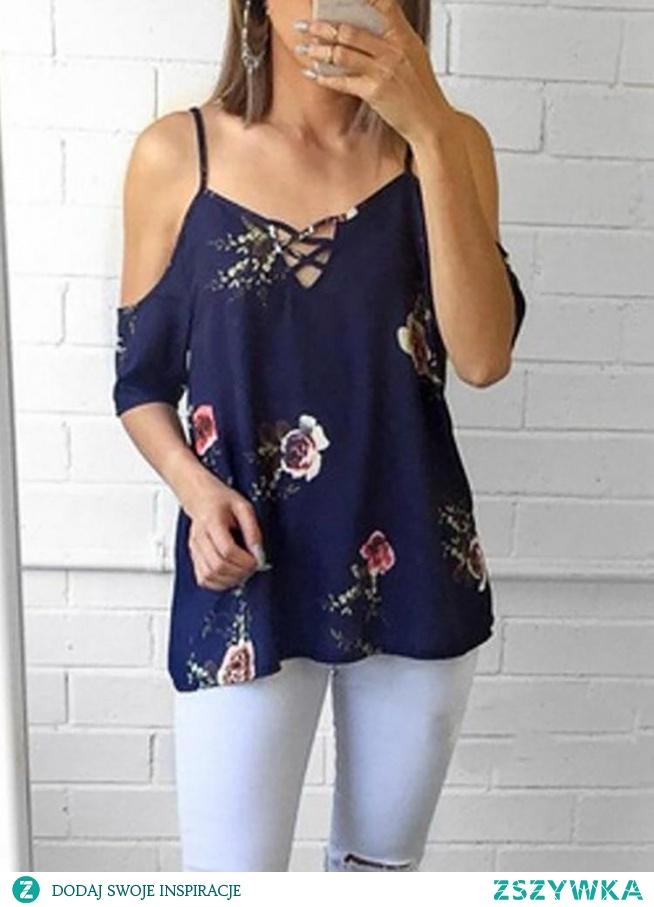 Floral Print Lace-Up Cold Shoulder Blouse Rozmiar: S, M, L, XL Kolor: dark blue