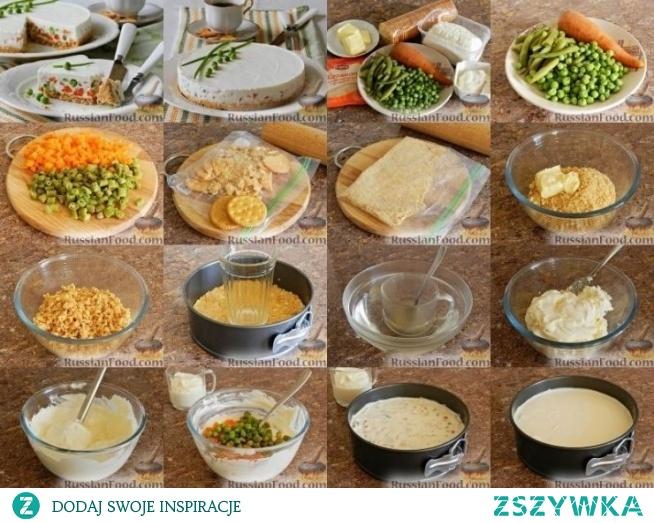Sernik z warzywami (bez pieczenia)-russianfood.com  Wszystkie ulubione serniki mogą być nie tylko słodkim deserem. Jeśli jesteś zainteresowany eksperymentami w kuchni, przygotuj sernik z warzywami. Sernik na ten przepis przygotowany jest bez pieczenia.  Forma 18 cm średnicy  twarożek 300-350 g śmietana 100 9 krakersy niesłodkie 100 g marchewka 1 szt zielony groszek 80 g fasola świeża lub mrożona 80  masło śmietankowe (nie mniej niż 82% tłuszczu) 80 g woda przegotowana w temp. pokojowej 80 ml żelatyna błyskawiczna 1,5 łyżeczki sól do smaku   Warzywa z góry gotujemy w osolonej wodzie i schładzamy. marchewkę i fasolkę szparagową w małe kostki. Groch cały. Krakersy rozbić na miazgę dodać masło i zrobić masę. Wylepić masą dno tortownicy, mocno ubić i włożyć do lodówki na 30 min.  Żelatynę rozpuść dobrze w wodzie mieszać i pozostawić ok 5 min. Blenderem ubij ser i śmietanę, trochę posolić. Po połowie łyżeczki dodawać żelatynę i dobrze mieszać.   Odłóż 3-4 łyżki stołowe. łyżki masy serowej.W pozostałej części wymieszaj plasterki fasoli, marchewki i grochu.wsyp do tortownicy z krakersami, po górze rozprowadź masę bez warzyw. Lekko uderz w stół tortem by uciekło powietrze.  Włóż sernik do lodówki na 2 godziny lub dłużej. Sernik z przekąskami bez pieczenia jest gotowy. Kawałek tego niezwykłego, ale bardzo smacznego, lekkiego i delikatnego niesłodzonego sernika jest idealny na poranną kawę.