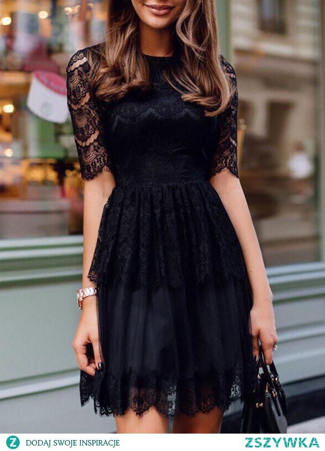 Guipure Lace Hollow Out Pleated Mini Dress Rozmiar: S, M, L, XL Kolor: black