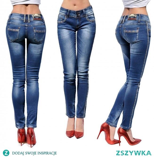 Spodnie Damskie Jeans Denim RURKI Kobiece Lampasy w Azteckie Wzory model #435 na Wiosnę Lato Jesień Zimę FASHIONAVENUE.PL