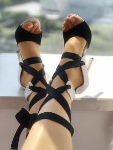Contrast Color Lace-up Thin Heeled Sandals Rozmiar: US4, US4.5, US5.5, US6, US7, US8, US8.5, US9.5, US10, US11 Kolor: white