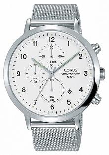 Lorus RM313EX9 elegancki zegarek męski wykonany ze stali na bransolecie siatkowej. Na białej tarczy widnieje chronograph i miesięczny datownik. Aby przenieść się do sklepu klikn...